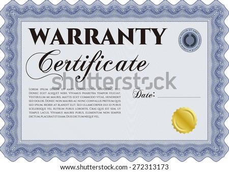 Blue warranty certificate template