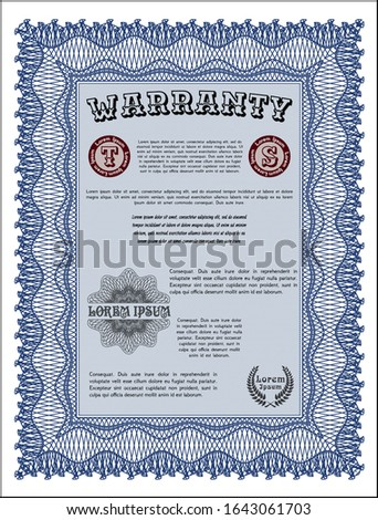 Blue Warranty template. With complex linear background. Customizable, Easy to edit and change colors. Sophisticated design.