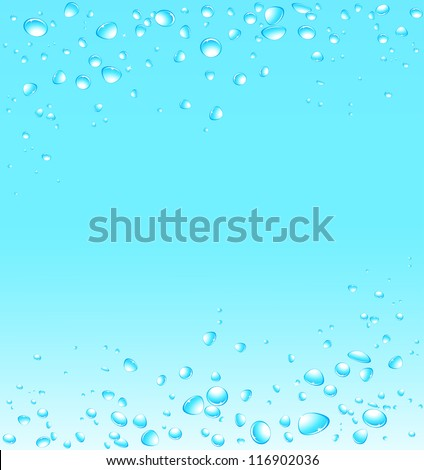 blue water background with many fresh drops and space for text