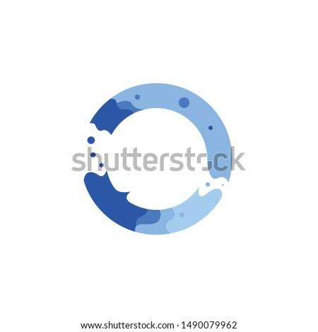 blue water circle logo design