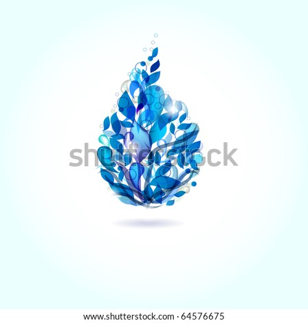 Blue water drop from drops and leaves - stock vector