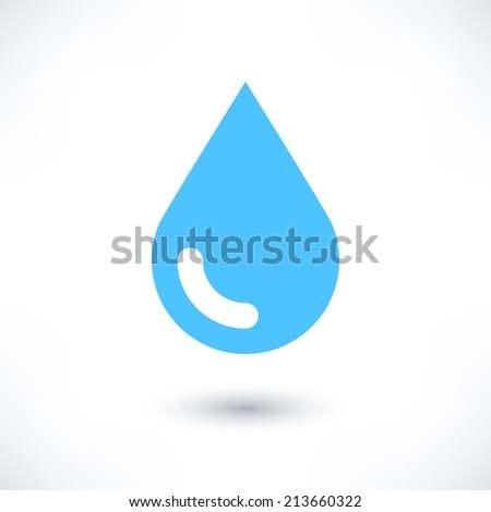 Buy and Sell Stock Vector illustration: Blue water drop icon with gray shadow on white background. Simple, solid, plain, flat style. Vector illustration graphic web design element in 8 eps