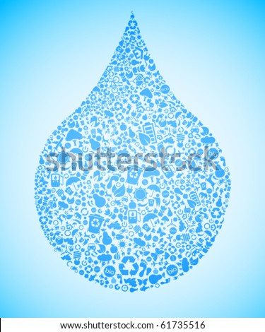 Blue water drop made out of eco icons