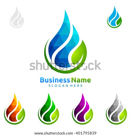 Blue water drop with green leaf ecology vector logo design