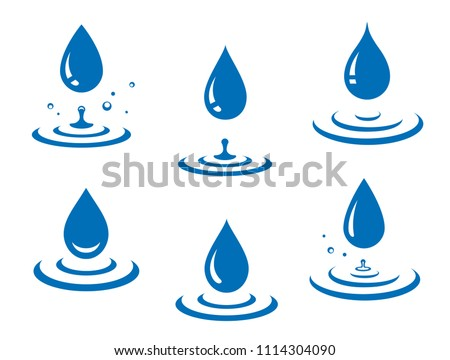 blue water drops icons set and