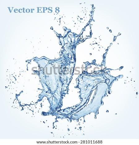 blue water splash  vector