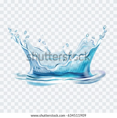 Blue water splash vector illustration on transparent background #634511909