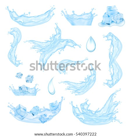 blue water splash with ice