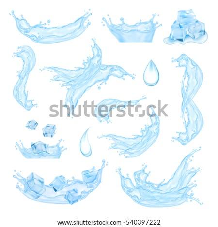 blue water splash with ice
