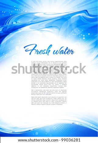 Blue water wave. Abstract background. Vector - stock vector