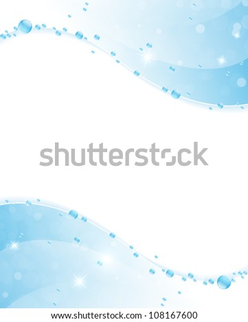 Blue water waves with  shiny bubbles and sparks. Clear water background.