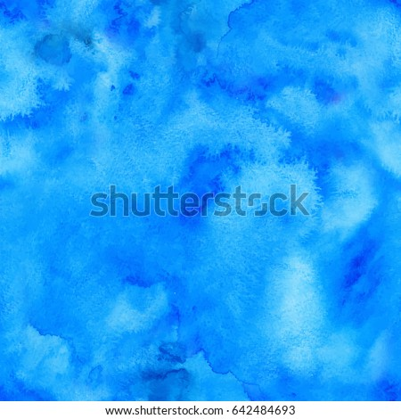 Blue watercolor background, vector seamless pattern tile