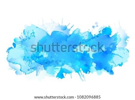 Blue watercolor big blot spread to the light background.