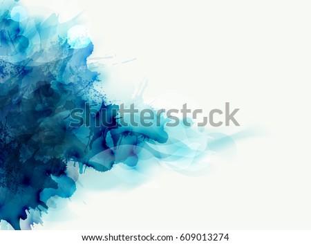 blue watercolor big blot spread