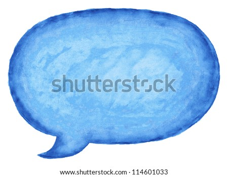 Blue watercolor blank speech bubble dialog empty oval shape on white background. This vector illustration clip-art design element saved in 10 eps.