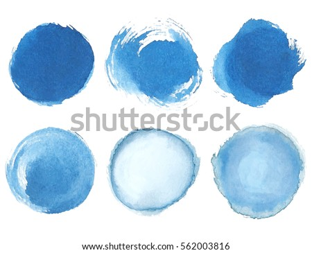 Blue watercolor blotch. Set of blue watercolor circles