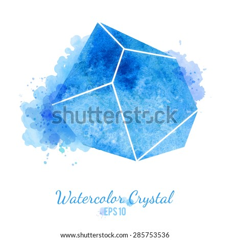 blue watercolor crystal vector