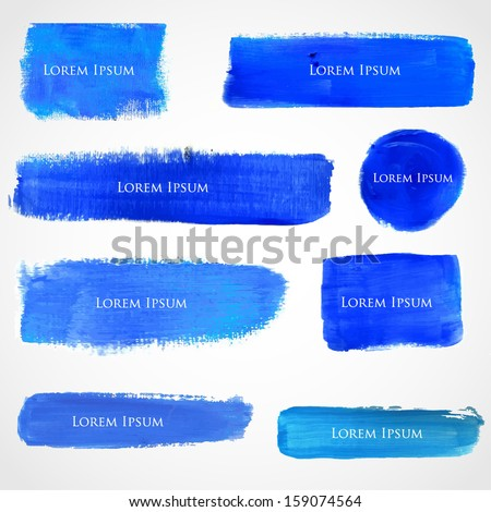 Blue watercolor grunge stripes, spots and circles. Vector banners for your design.