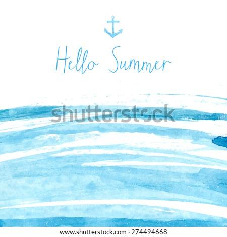 blue watercolor sea texture