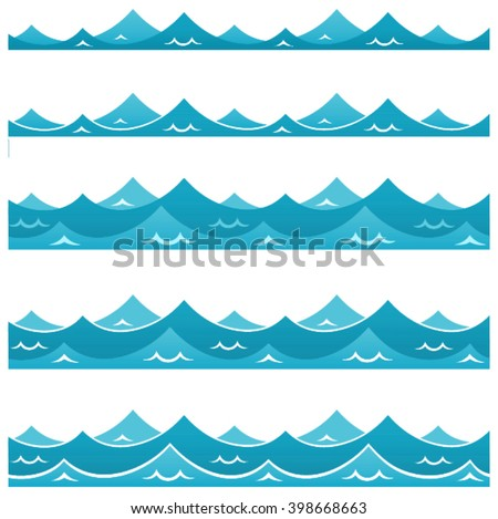 blue waves sea ocean vector
