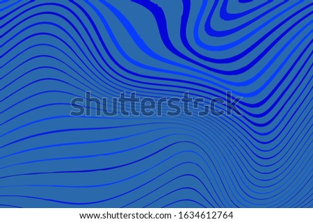 Blue wavy dynamic backdrop. Blue wavy background. Pattern for wallpaper design. Creative vector concept. Decoration element. Monochrome background. Abstract geometric pattern, wavy shapes.