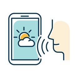 Blue weather forecast voice search color icon. Smartphone sound command idea. Meteorology app, mobile application. Audio request. Distant phone control. Isolated vector illustration