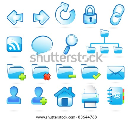Blue web and internet  icons