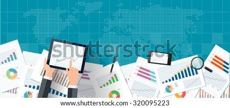 Blue web banner with world map, mobile devices, business charts and reports. Vector business investment and finance concept, business planning.