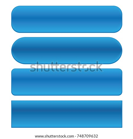 Blue web buttons set  isolated on a white background