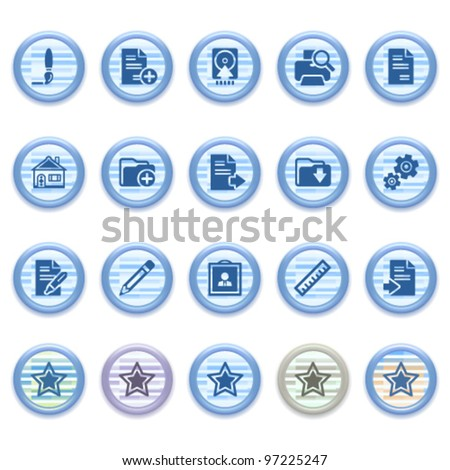 Blue web icons set 21 - stock vector