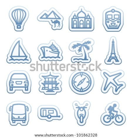 Blue web stickers with icons 7