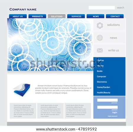 Blue website template. EDITABLE