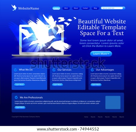blue website template with doves flying from laptop