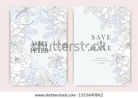 Blue Wedding Invitation, floral invite thank you, rsvp modern card Design in white rose with leaf greenery  branches decorative Vector elegant rustic template
