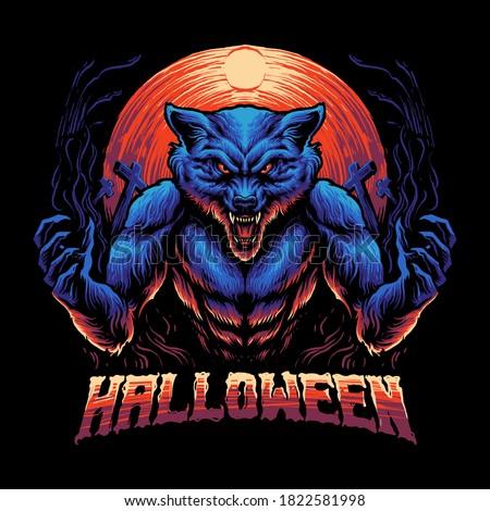 blue werewolf beast vector illustration Сток-фото ©