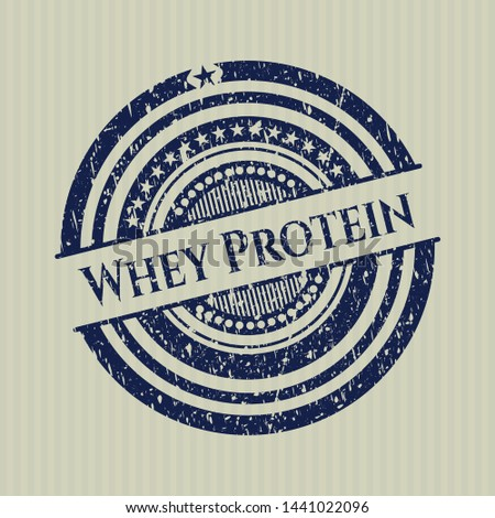 Blue Whey Protein distress rubber stamp with grunge texture