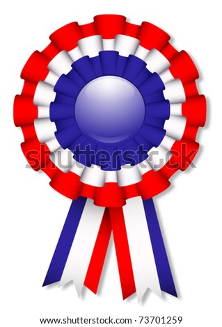 Blue, white and red cockade, vector illustration