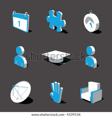 blue white 3d icon set 05