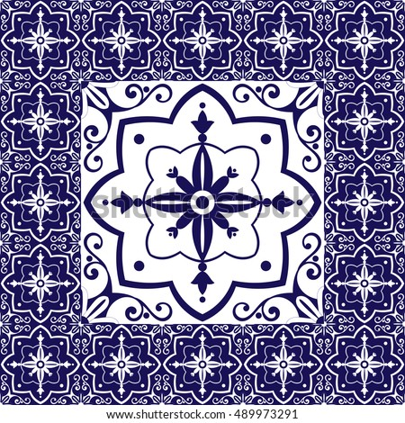 Vector Images, Illustrations and Cliparts: Blue white tiles