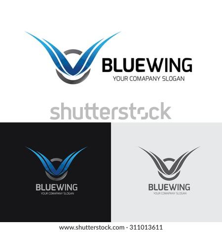 Blue Wing logo,wing logo,eagle logo,freedom,blue logo,auto logo,Vector Logo template.