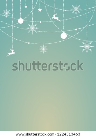 blue winter christmas vertical background with border of white snowflakes stars deers and ribbons