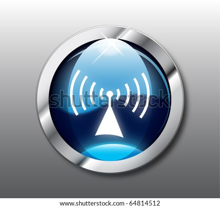 Blue wireless button vector - stock vector