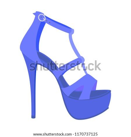 dc43a4730 Blue woman sandal icon. Flat illustration of blue woman sandal vector icon  for web design