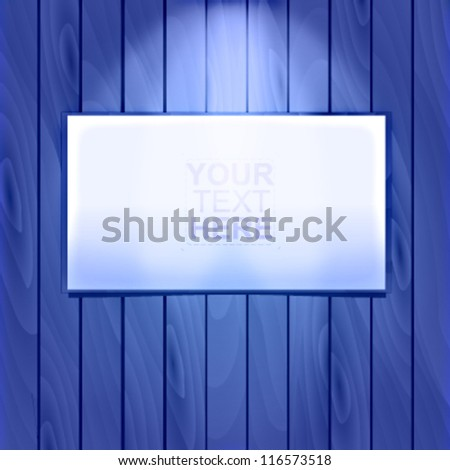 Blue wooden vector wall with a billboard on top