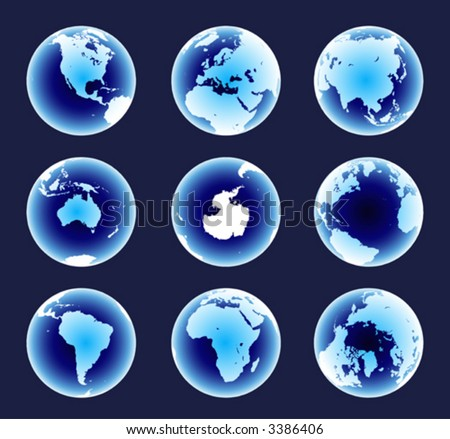 Blue World Continents(Vector). Accurate map on a globe. Includes Antarctica, Arctic, Atlantic. Details include small island chains, lakes and seas.