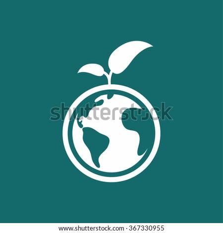 blue world globe with green
