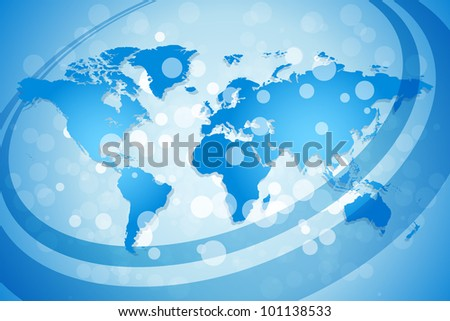 Blue World Map Background with Sparkles and lines