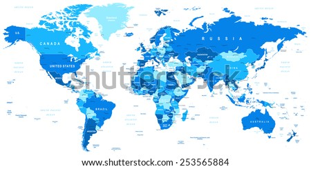 Blue World Map - borders, countries and cities - illustration Highly detailed vector illustration of world map. Image contains next layers: -lands -country and land names -city names -water objects