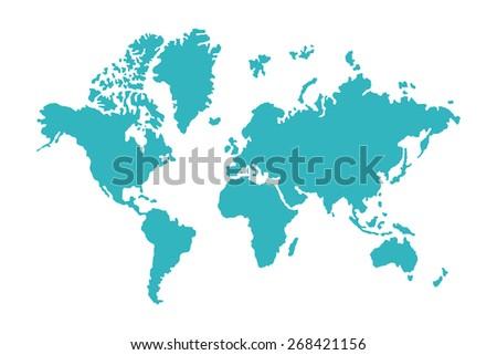 blue world map isolated on white background