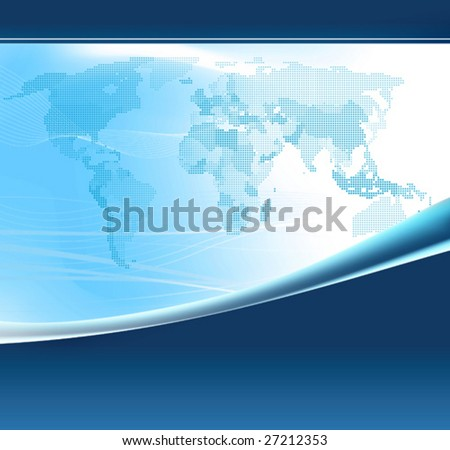 Blue world map made up of dots. All elements and textures are individual objects. Vector illustration scale to any size.